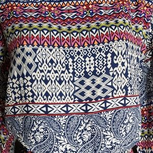 NEW Plus Size 2X Blouson Geometric Blue Midi Dress